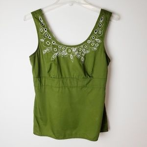 LOFT Ann Taylor Green Tank with Embroidery